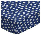686 SheetWorld Fitted Basket Sheet - Primary Stars White On Navy Woven - Made In USA - 13 inches x 27 inches (33 cm x cm)