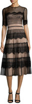 Catherine Deane Half-Sleeve Point d'Esprit Lace Dress, Black
