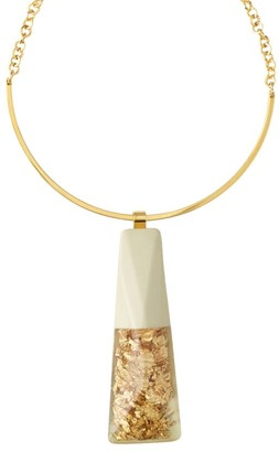 Lafayette 148 New York Goldtone Foil Statement Necklace