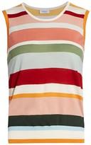 Akris Punto Multicolor Stripe Wool Sleeveless Knit Top