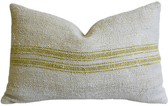 One Kings Lane Vintage French Chartreuse Striped Textile Pillow
