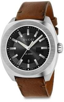 Gucci Stainless Steel& Leather Strap Watch