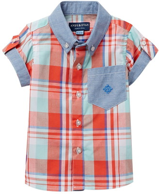 Andy & Evan Madras Chambray Button Down Shirt