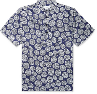 Onia Anthony Grandad-Collar Printed Cotton Shirt
