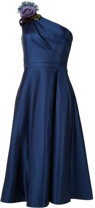 Marchesa One Shoulder Satin Dress
