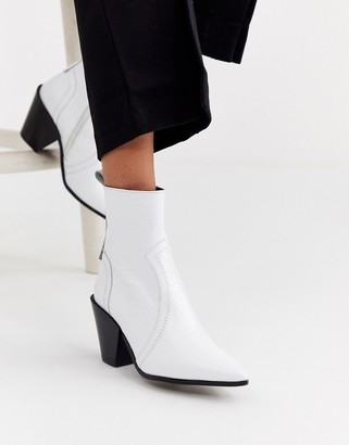 Office Avail western cone heel leather boot