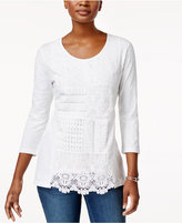 JM Collection Cotton Patchwork-Lace Top, Created for Macy's