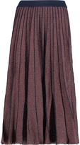 Tanya Taylor Pleated metallic stretch-knit midi skirt