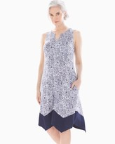 Soft Jersey Sleeveless Short Swing Dress Retro Dash Mini White
