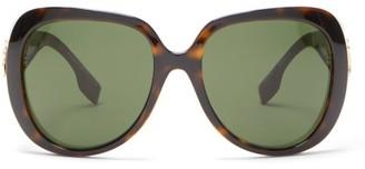 Burberry Tb-logo Oversized Tortoiseshell-acetate Sunglasses - Womens - Tortoiseshell