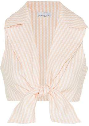 Miguelina Jill Cropped Tie-front Gingham Linen Top