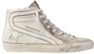 Golden Goose Slide Distressed Leather And Suede High-top Sneakers - Cream