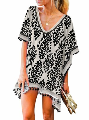 Happy Sailed Womens Loose Fit Tunic Dresses Beachwear Bikini Cover Ups Beach Dress Size 8 Blue White