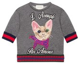Gucci Girl's 'L'Aveugle Par Amour' Kitten Applique Sweatshirt