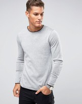 Selected Crew Neck Knitted Sweater with Contrast Raw Hem