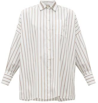 Brunello Cucinelli Monili-chain Striped Cotton Poplin Shirt - White Multi