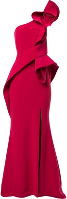 Azzi & Osta Ruffled Crepe Gown