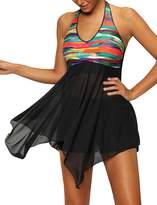 Imilan Women's Halter Tankini Two Pieces Swimsuit Swimdress Boyshorts Push Up