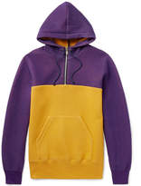 Sacai Two-tone Cotton-blend Jersey Hoodie - Purple