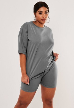 Missguided Plus Size Dark Gray Oversized T Shirt Biker Shorts Co Ord Set
