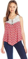 Jolt Women's Red Printed Rayon Gauze Top with Lace Yolk