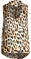 River Island Womens Brown leopard print choker top