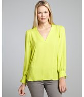 Wyatt neon margarita green woven high-low blouse