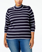 Melissa McCarthy Trendy Plus Size Striped Turtleneck Sweater