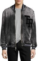 True Religion Decayed TR Varsity Bomber Jacket, Black/Charcoal