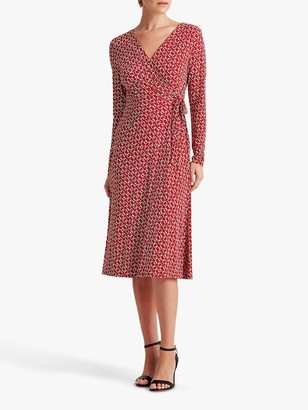 Ralph Lauren Ralph Coreen Long Sleeved Abstract Graphic Print Wrap Dress, Red/Cream