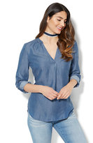New York & Co. Soho Soft Shirt - Ultra-Soft Chambray Split-Neck Tunic - Indigo Blue Wash