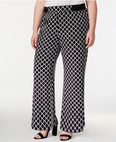 INC International Concepts Plus Size Diamond-Print Wide-Leg Pants, Created for Macy's
