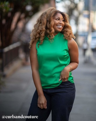 The Drop Women's Emerald Green Mock-Neck Sleeveless Top by @amazonthedrop