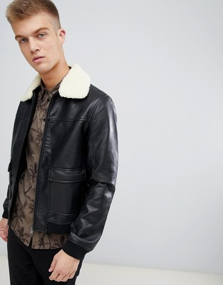 Another Influence Faux Leather Faux Fur Collar Bomber Jacket-Black