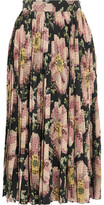 Gucci Floral-print Pleated Silk Skirt - Black