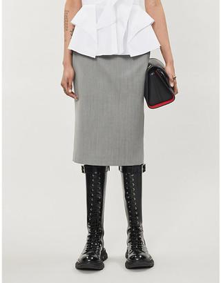 Alexander McQueen Herringbone-pattern wool midi skirt