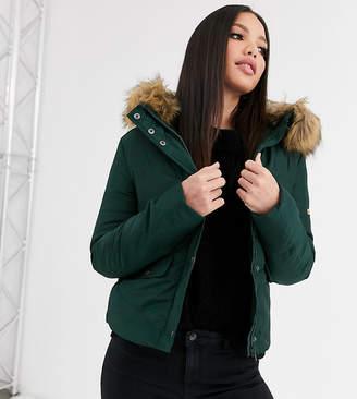 Noisy May Tall Mona quilted parka coat-Green