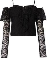 Bardot Long Sleeved Off Shoulder Lace Crop Top