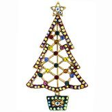 Butler & Wilson Cut Out Crystal Christmas Tree Brooch - Multi