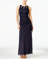 Betsy & Adam BandA by Embellished Keyhole Ruched Gown