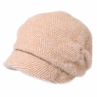 HIKARO Amazon Brand Womens Visor Beanie Flat Cap Blend Knit Winter Hats Baker Boy Hat Newsboy Cabbie Peaked Beret Warm Lined Cloche Hat 55-58CM Brown