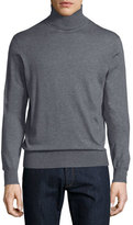 Neiman Marcus Cashmere-Silk Turtleneck Sweater, Derby Gray