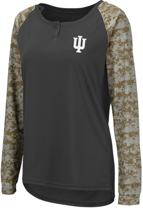 Colosseum Women's Charcoal/Camo Indiana Hoosiers United We Stand Camo Raglan Long Sleeve Henley T-Shirt