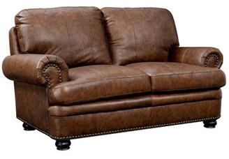 "Hokku Designs Alamosa 66.5"" Wide Leather Match Rolled Arm Loveseat"