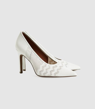 Reiss Zena - Mesh Court Shoes in Off White