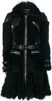 Alexander McQueen shearling biker coat - women - Silk/Buffalo Leather/Lama Fur - 40