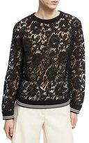 Valentino Lace Sweatshirt with Varsity Stripes