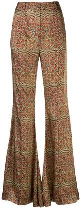 KHAITE Stockard paisley-print flared trousers