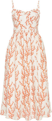 Agua Bendita Acacia Arrecife Printed Linen Midi Dress
