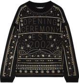Opening Ceremony Embellished Cotton-jersey Sweatshirt - Black